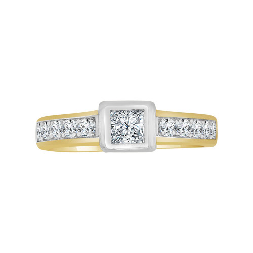 14k Yellow Gold White Rhodium, Lady's Promise Princess Cut Cubic Zirconia 0.40ct (R117-017)