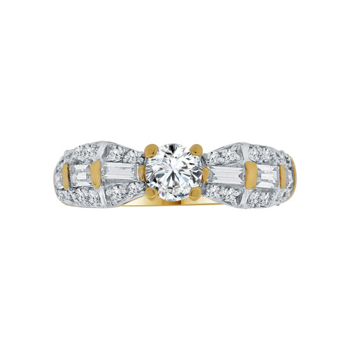 14k Yellow Gold White Rhodium, Lady's Bridal Wedding Ring Round Cubic Zirconia 0.50ct (R117-019)