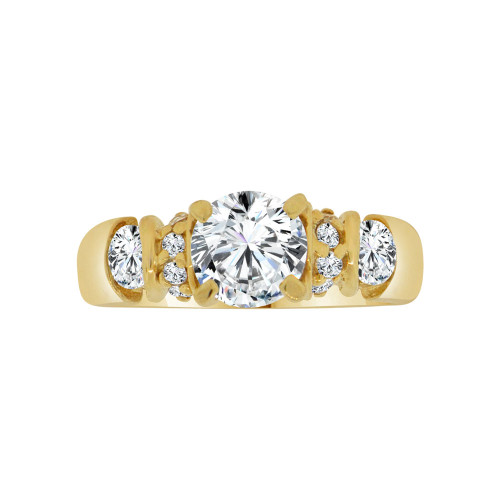 14k Yellow Gold, Elegant Lady's Bridal Wedding Ring Round Cubic Zirconia 1.25ct (R117-020)