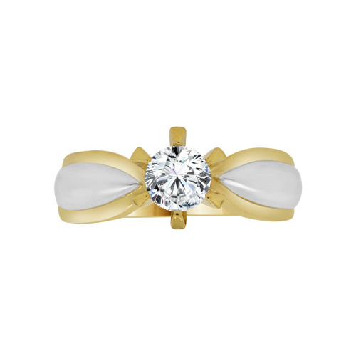 14k Yellow Gold White Rhodium, Solitaire Lady's Bridal Wedding Ring Round Cubic Zirconia 0.75ct (R117-021)