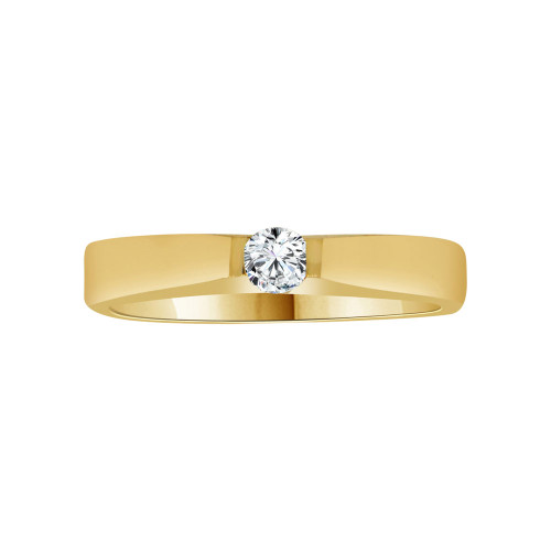 14k Yellow Gold, Solitaire Design Promise Ring Round Cubic Zirconia 0.10ct (R117-023)