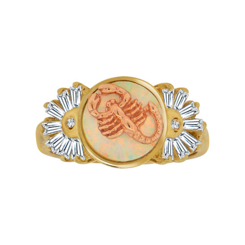 14k Yellow and Rose Gold, Lady Scorpion Ring Cubic Zirconia & Faux Opal (R117-025)