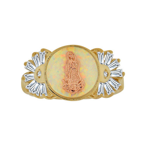 14k Yellow and Rose Gold, Holy Virgin Religious Ring Cubic Zirconia & Faux Opal (R117-026)