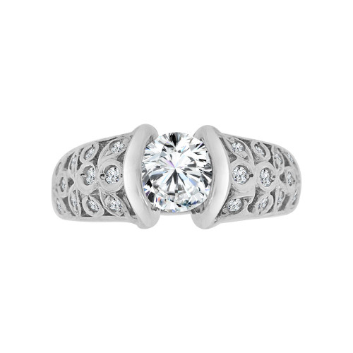 14k White Gold, Elegant Lady's Bridal Wedding Ring Round Cubic Zirconia 1.0ct (R117-051)