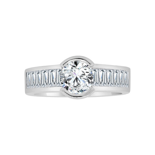 14k White Gold, Fancy Modern Design Bridal Wedding Ring with Brilliant Created Gems 1.0ct (R117-054)