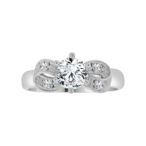 14k White Gold, Fancy Classic Design Bridal Wedding Ring with Brilliant Created Gems 0.75ct (R117-055)