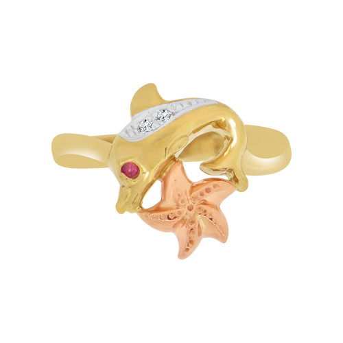 14k Yellow and Rose Gold, Dolphin Starfish Ring Created Mini Red & White Gems (R118-002)