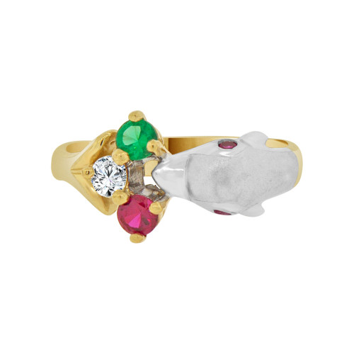 14k Yellow and White Gold, Fancy Dolphin Ring Created Colored Gems (R118-004)