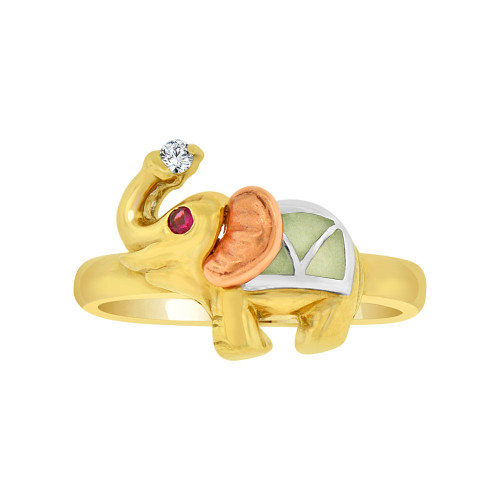 14k Yellow and Rose Gold, Lucky Elephant Ring Green Resin & Cubic Zirconia (R118-008)