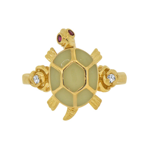 14k Yellow Gold, Good Luck Turtle Tortoise Ring Green Resin Accents & Cubic Zirconia (R118-009)