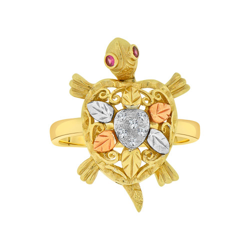14k Tricolor Gold, Good Luck Turtle Tortoise Fancy Ring Red Eyes Cubic Zirconia (R118-011)