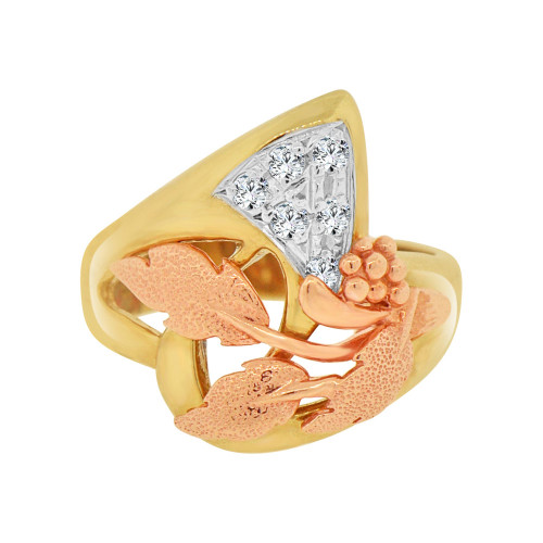 14k Yellow and Rose Gold, Modern Abstract Design Fancy Ring Cubic Zirconia (R118-012)
