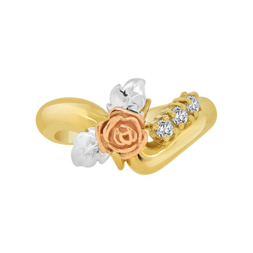 14k Tricolor Gold, Classic Vintage Rose Flower Design Ring Cubic Zirconia (R118-013)