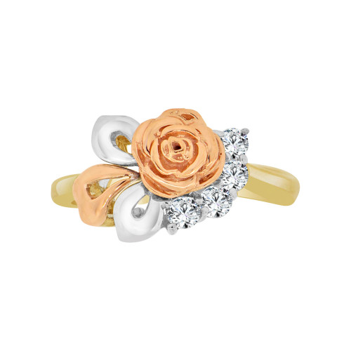 14k Tricolor Gold, Classic Vintage Rose Flower Design Ring Cubic Zirconia (R118-014)