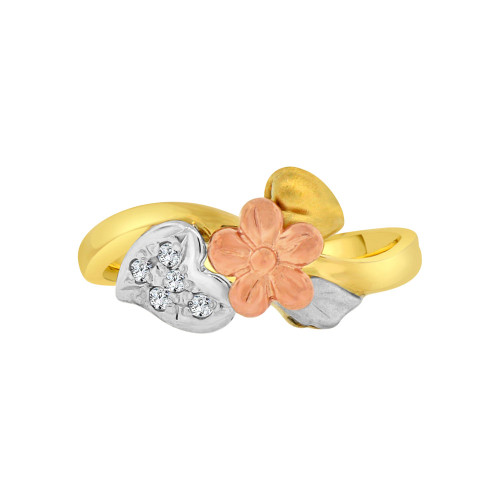 14k Tricolor Gold, Classic Vintage Flower Leaf Design Fashion Ring Cubic Zirconia (R118-019)