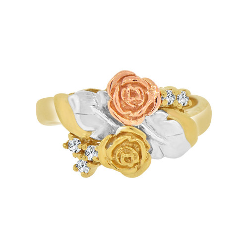 14k Tricolor Gold, Classic Vintage Double Rose Flower Design Ring with Cubic Zirconia (R118-022)