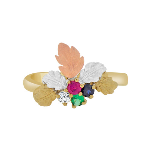 14k Tricolor Gold, Dainty Classic Leaves Design Ring Brilliant Colored Cubic Zirconia (R118-026)