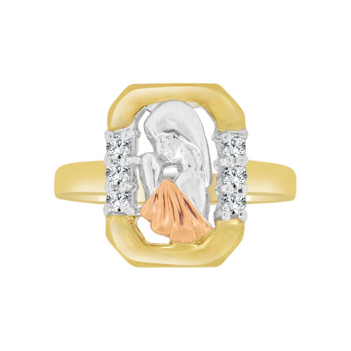 14k Tricolor Gold, Praying Virgin Design Ring Brilliant Cubic Zirconia (R118-030)