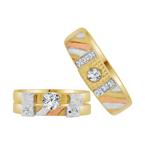 14k Tricolor Gold, His & Her Matching Trio Engagement 3 Ring Set Cubic Zirconia 0.50ct (R118-038)