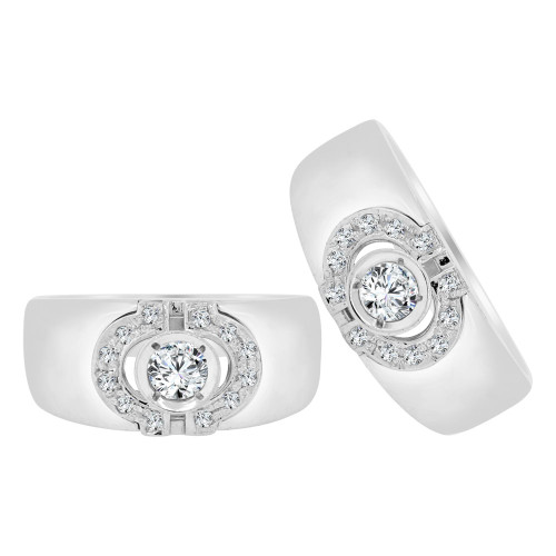 14k White Gold, Fancy Design Duo His & Her Duo Matching Band Ring Set Cubic Zirconia (R118-041)