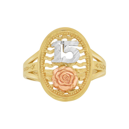 14k Tricolor Gold, 15 Anos Quinceanera Oval Ring Sparkly Rose Design (R120-013)