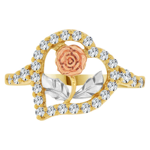 14k Yellow Rose Gold, Long Stem Rose Heart Design Ring Brilliant Cubic Zirconia (R140-008)