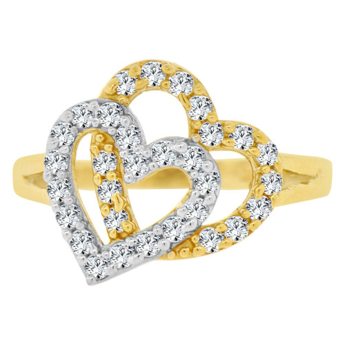 14k Yellow Gold, Double Heart Design Ring Brilliant Cubic Zirconia (R140-014)