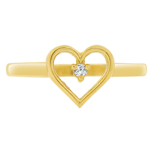 14k Yellow Gold, Dainty Simple Heart Design Ring Brilliant Cubic Zirconia (R140-021)