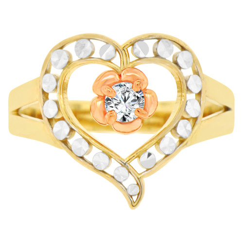 14k Tricolor Gold, Filigree Style Heart Fashion Ring Brilliant Cubic Zirconia (R141-008)