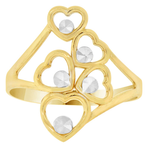 14k Yellow Gold White Rhodium, 5 Heart Cluster Fashion Ring Sparkly Finish (R141-009)