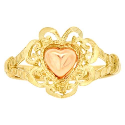 14k Yellow & Rose Gold, Small Filigree Style Heart Fashion Ring Sparkly Finish (R141-010)