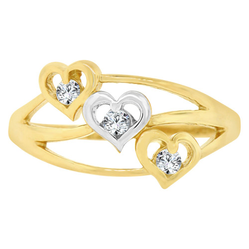 14k Yellow Gold White Rhodium, Layered 3 Heart Fashion Ring Brilliant Cubic Zirconia (R141-013)