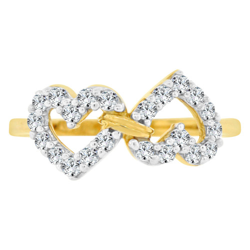 14k Yellow Gold White Rhodium, Double Heart Fashion Ring Brilliant Cubic Zirconia (R141-017)