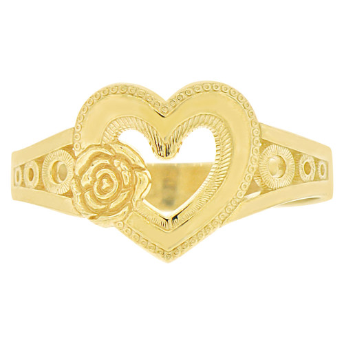 14k Yellow Gold, Filigree Style Heart & Rose Fashion Ring Sparkly Finish (R141-020)