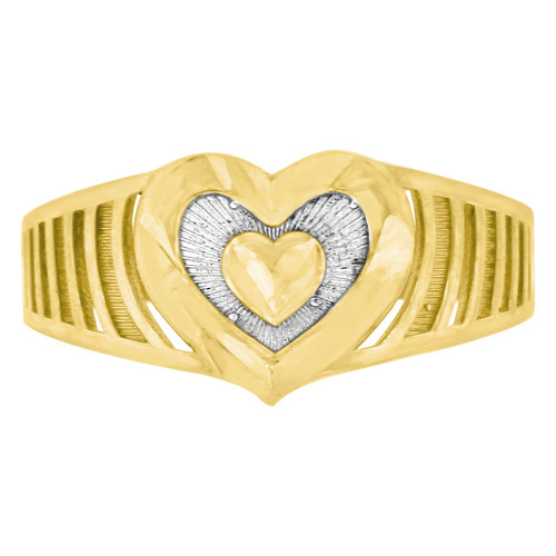 14k Yellow Gold White Rhodium, Band Style Modern Heart Fashion Ring Sparkly Finish (R141-021)