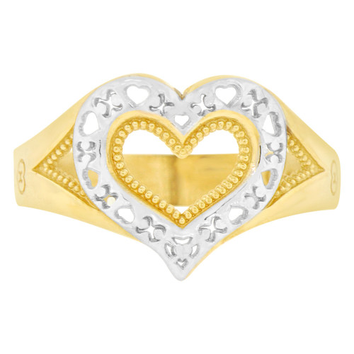 14k Yellow Gold White Rhodium, Modern Style Heart Fashion Ring Sparkly Finish (R141-022)