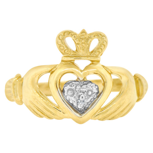 14k Yellow Gold White Rhodium, Heart Crown Hands Ring Irish Wedding Band Design (R141-023)