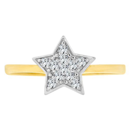 14k Yellow Gold White Rhodium, Small Star Design Fashion Ring Brilliant Cubic Zirconia (R141-026)