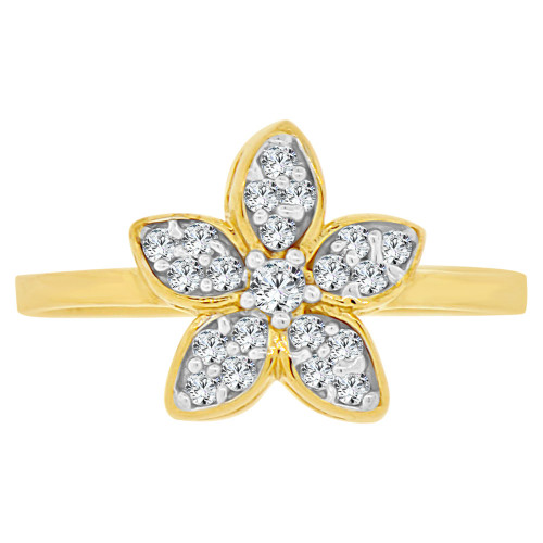 14k Yellow Gold White Rhodium, Small Plumeria Hawaiian Flower Design Ring Cubic Zirconia (R141-027)