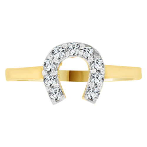 14k Yellow Gold White Rhodium, Small Good Luck Horseshoe Design Ring Cubic Zirconia (R141-028)
