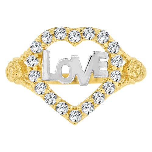 14k Yellow Gold White Rhodium, Heart Ring Love & Brilliant Cubic Zirconia (R141-029)