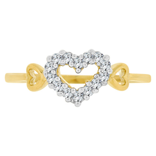 14k Yellow Gold White Rhodium, Small & Dainty Heart Ring Brilliant Cubic Zirconia (R141-030)