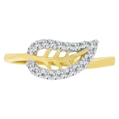 14k Yellow Gold White Rhodium, Small & Dainty Leaf Design Ring Brilliant Cubic Zirconia (R141-031)