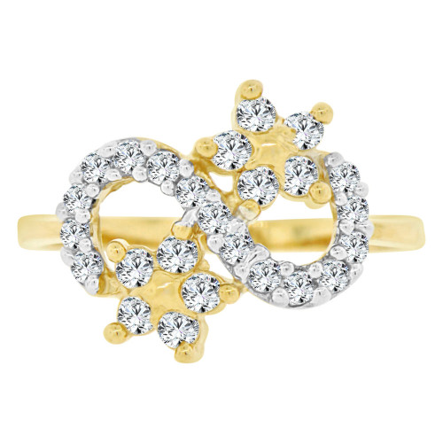 14k Yellow Gold White Rhodium, Abstract Design Figure 8 Design Flowers & Cubic Zirconia (R141-032)
