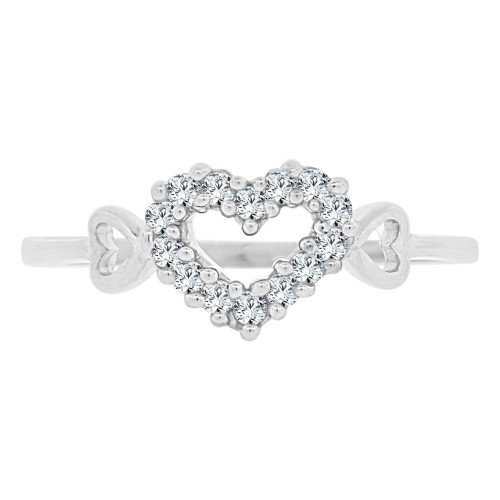 14k White Gold, Small & Dainty Heart Ring Brilliant Cubic Zirconia (R141-080)
