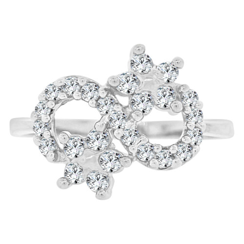 14k White Gold, Abstract Design Figure 8 Design Flowers & Cubic Zirconia (R141-082)