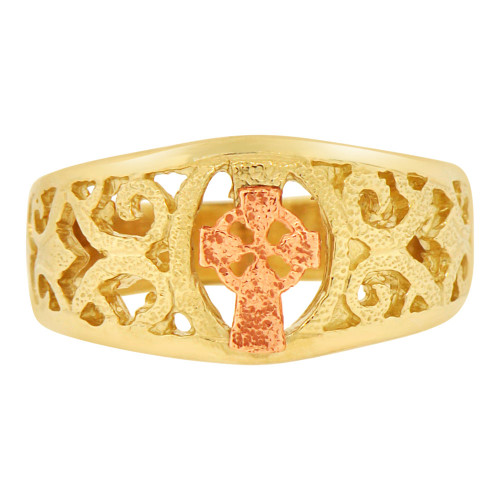 14k Yellow & Rose Gold, Filigree Style Cross Religious Ring Sparkle Cut (R142-001)