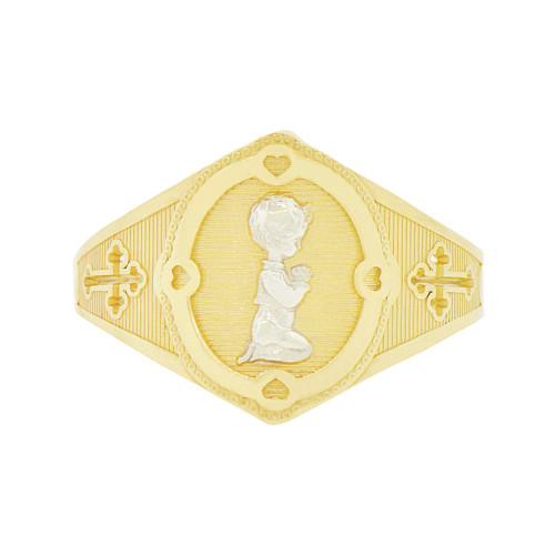 14k Yellow Gold White Rhodium, Cross Praying Child Girl Design Religious Ring Sparkle Cut (R142-009)