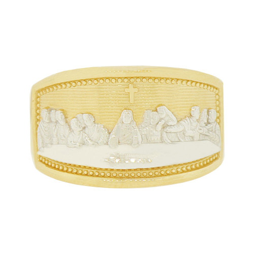 14k Yellow Gold White Rhodium, Da Vinci Last Supper Painting Depiction Religious Ring (R142-010)
