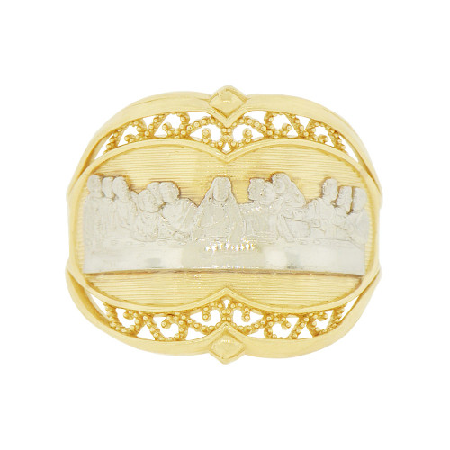 14k Yellow Gold White Rhodium, Da Vinci Last Supper Painting Depiction Religious Ring (R142-011)